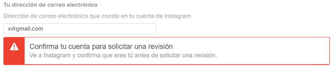 Confirma tu cuenta para solicitar una revisión instagram